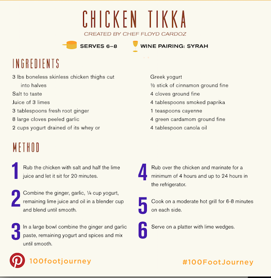 Chicken Tikka, The 100 Foot Journey movie, boomer movies