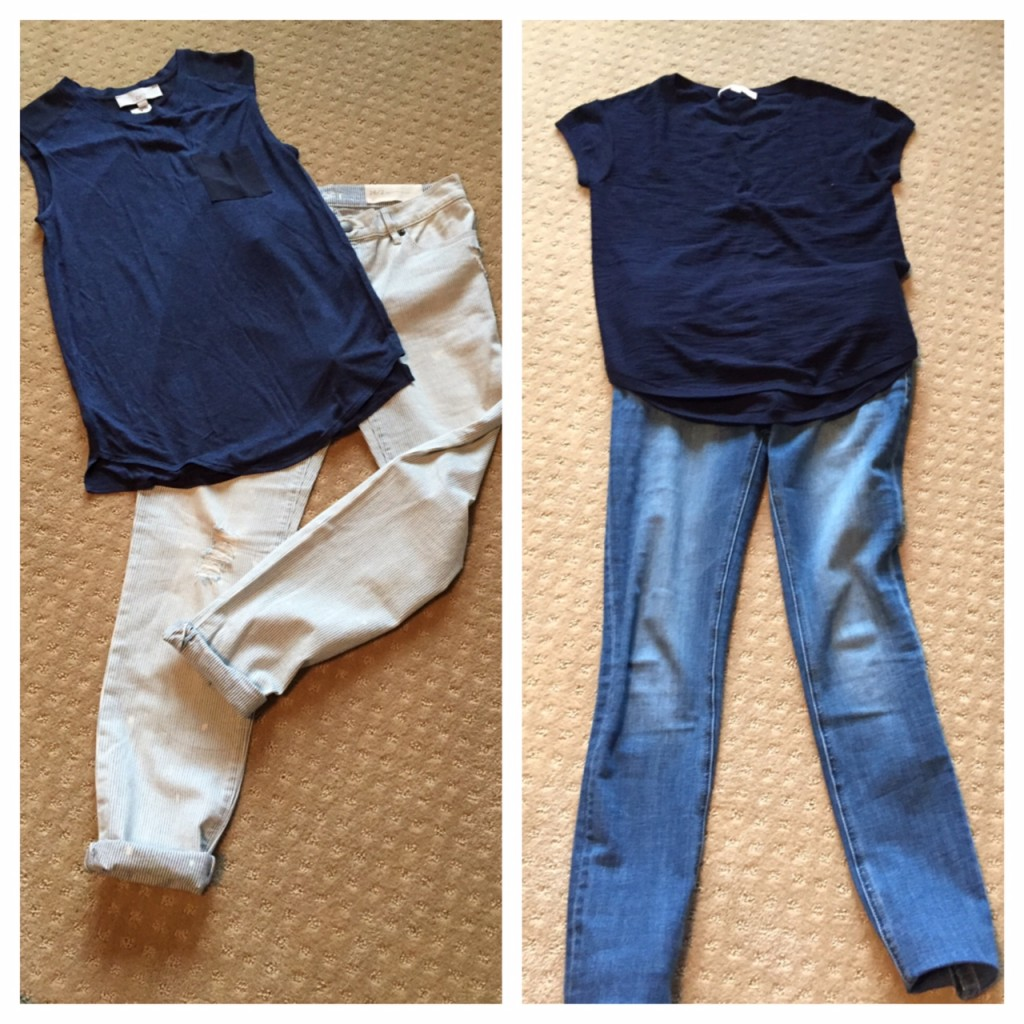LOFT distressed jeans, DL Florence Instasculpt jeans, muscle tees