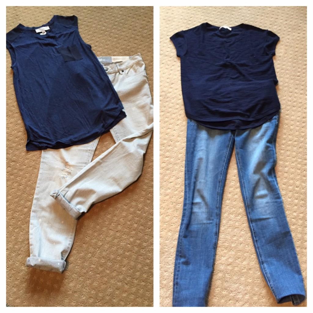 LOFT distressed jeans, DL Florence Instasculpt jeans, muscle tees