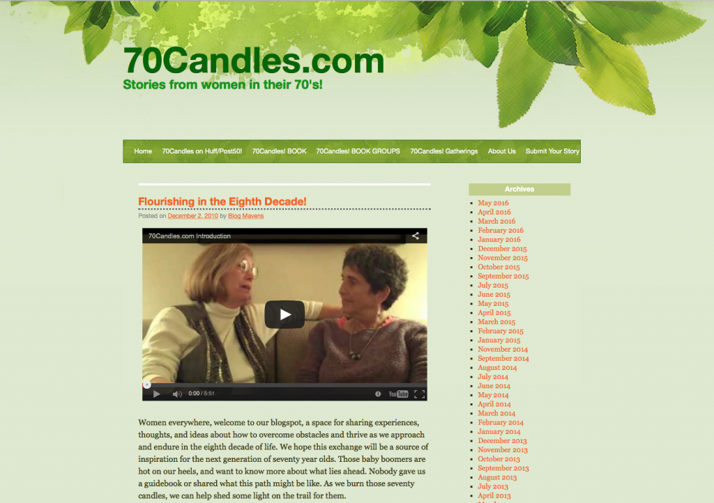 70candles.com; septuagenarian women; reinvention at midlife; retirement