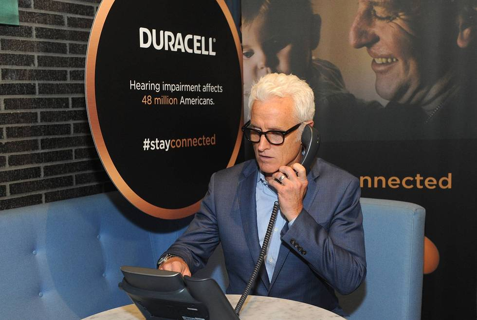 """John Slattery; Duracell hearing aid batteries; hearing loss; """"Stay Connected"""" initiative."""