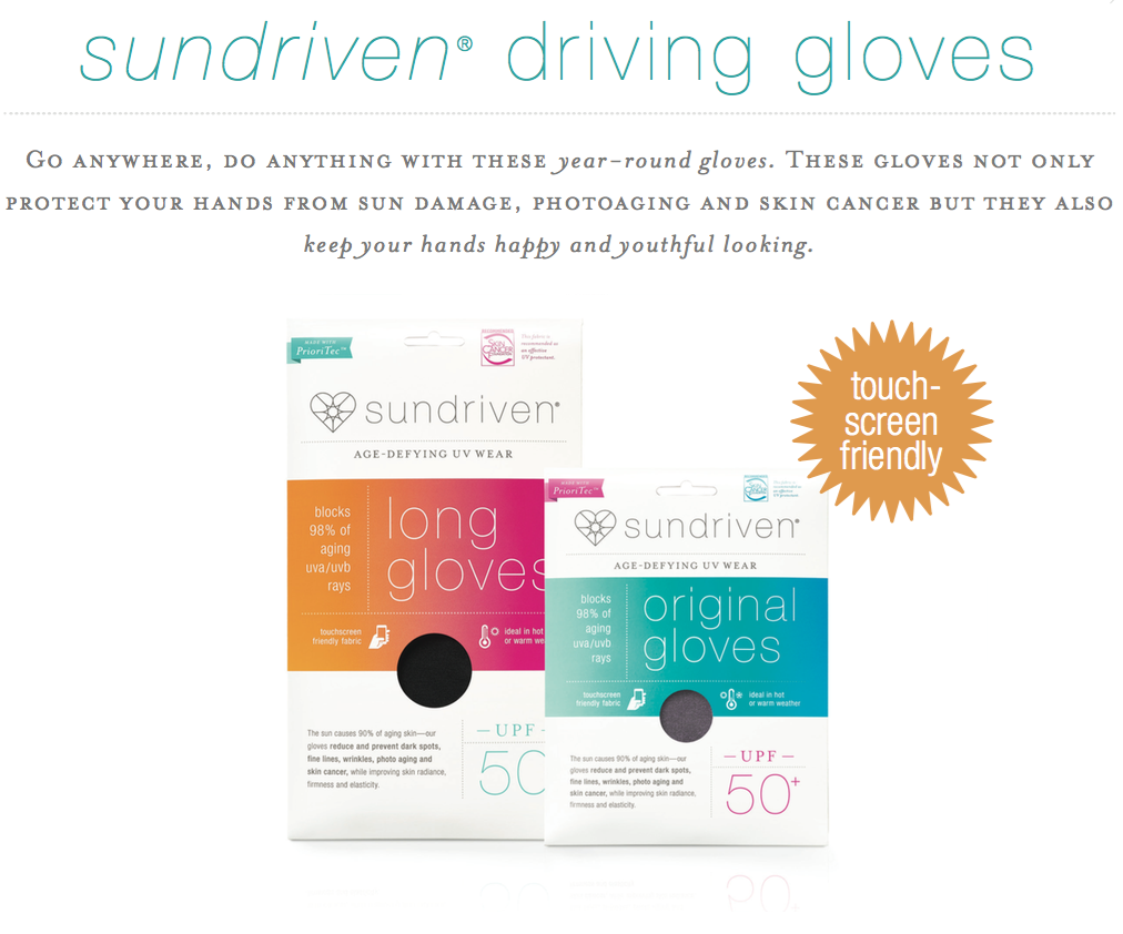 Sundriven Age Defying UV Wear gloves; sun protective fabrics; aging hands; skin care; skin cancer prevention