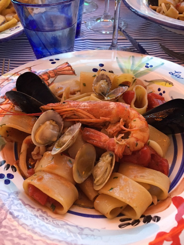 La Cambusa; Positano; Italy; Amalfi Coast; boomer travel; delicious seafood pasta