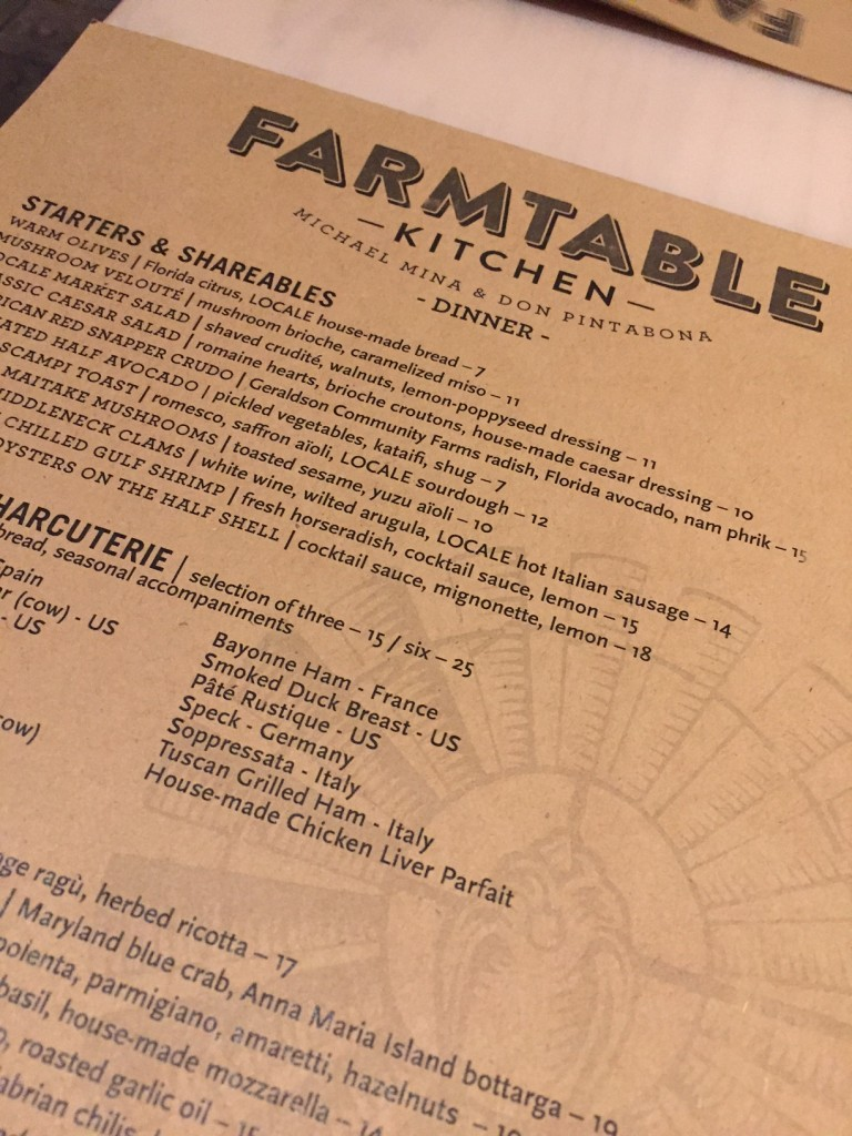 FarmTable Kitchen Menu; Sundial St. Pete;  St. Pete's vibrant downtown