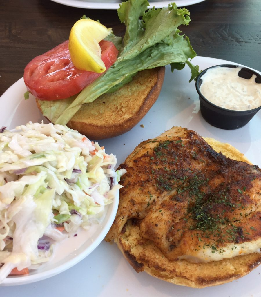 CRABBY'S Dockside Bar; Clearwater Beach; Grouper Sandwich; boomer travel