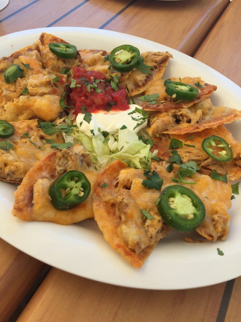 Palm Pavilion Beachside Bar and Grill; Shrimp Nachos; Clearwater Beach; boomer travel
