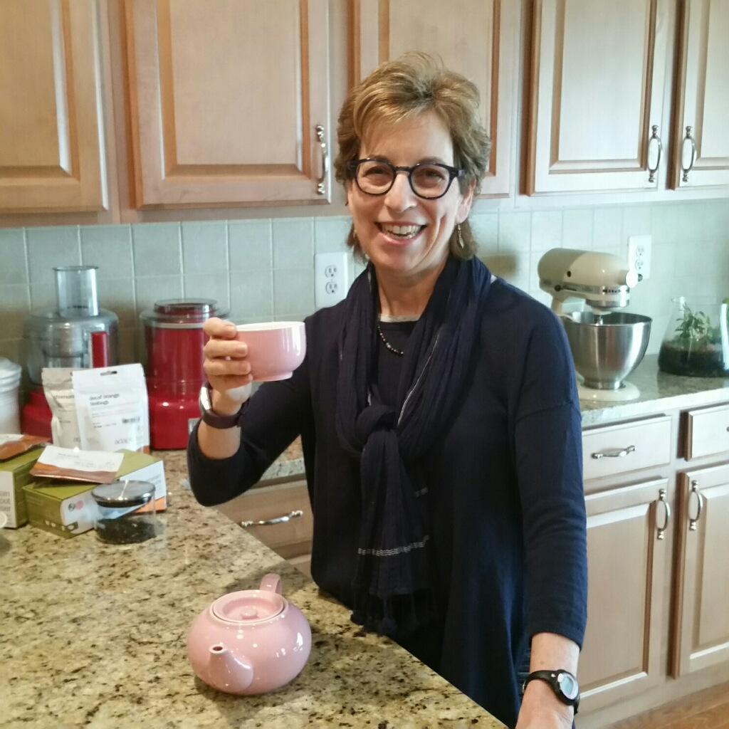 Asiago tea; enjoying a mindful cup of tea; pink teapot