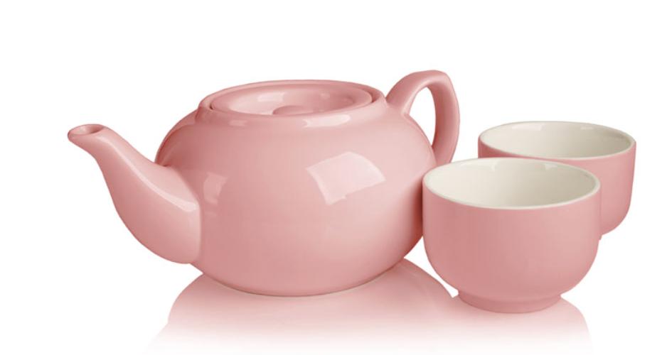 Adiago teaware; pink teapot; pink ceramic teapot; pink tea cups