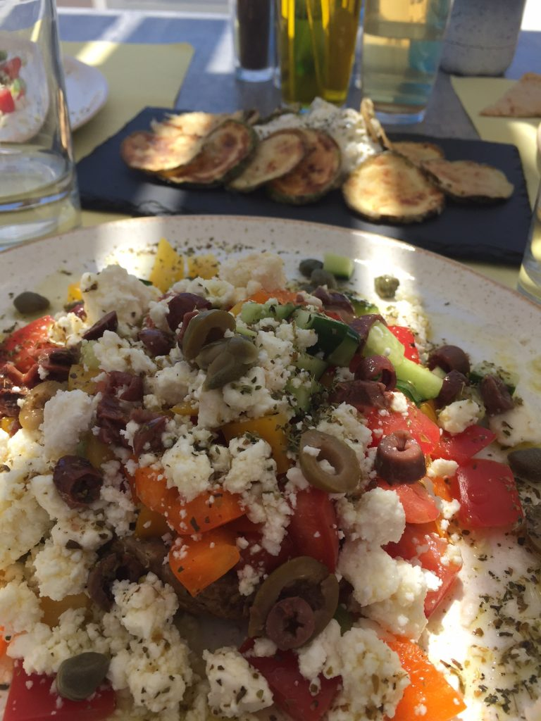 Santorini; Oia; Greece; Cafe Flora in Oia; Greek Salad; Greek food