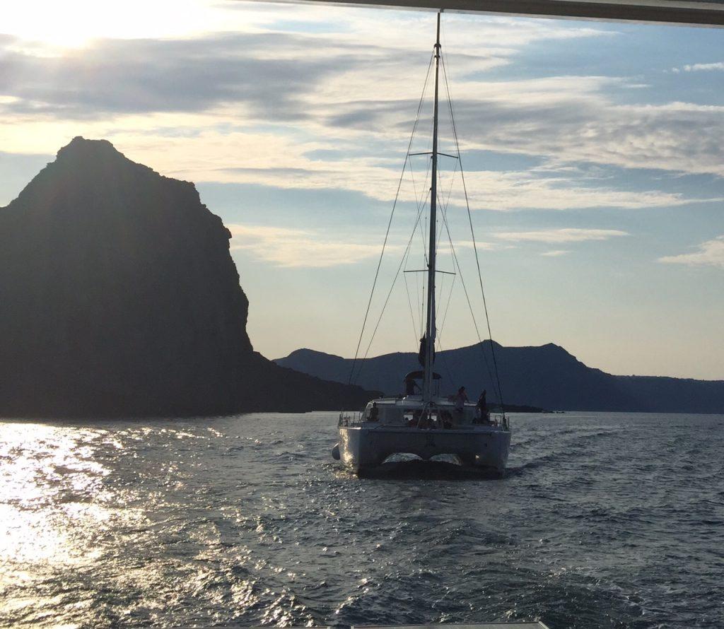 Sunset Oia cruises; Santorini, catamaran cruise