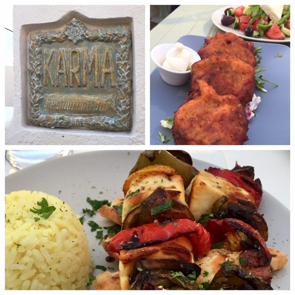 Karma restaurant in Oia; Greek tomato fritters; Santorini restaurants; Greece