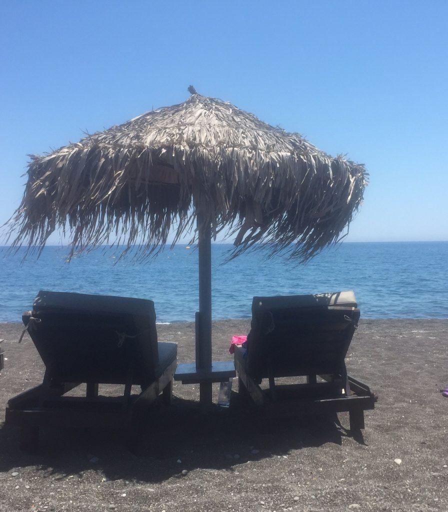 Santorini black beach, Perissa black beach; Santorini, Greece