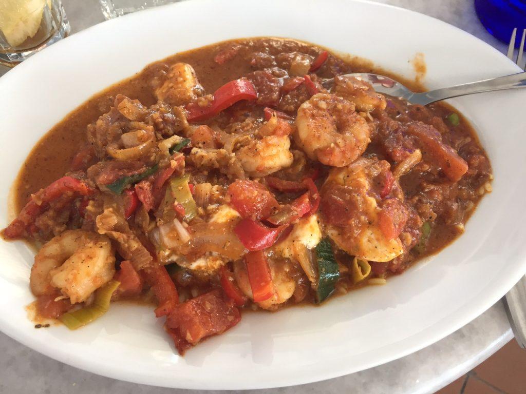 Shrimp Saganaki; Lotza Restaurant in Oia