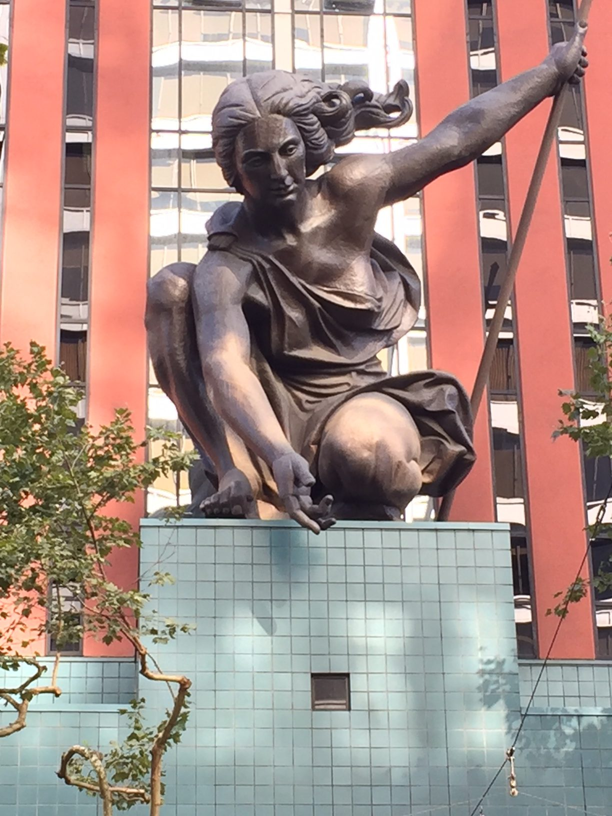 Portlandia statue; downtown Portland; Oregon