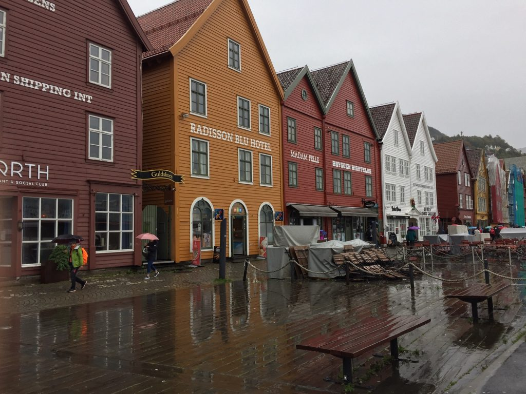 Colorful buildings on Bergen port