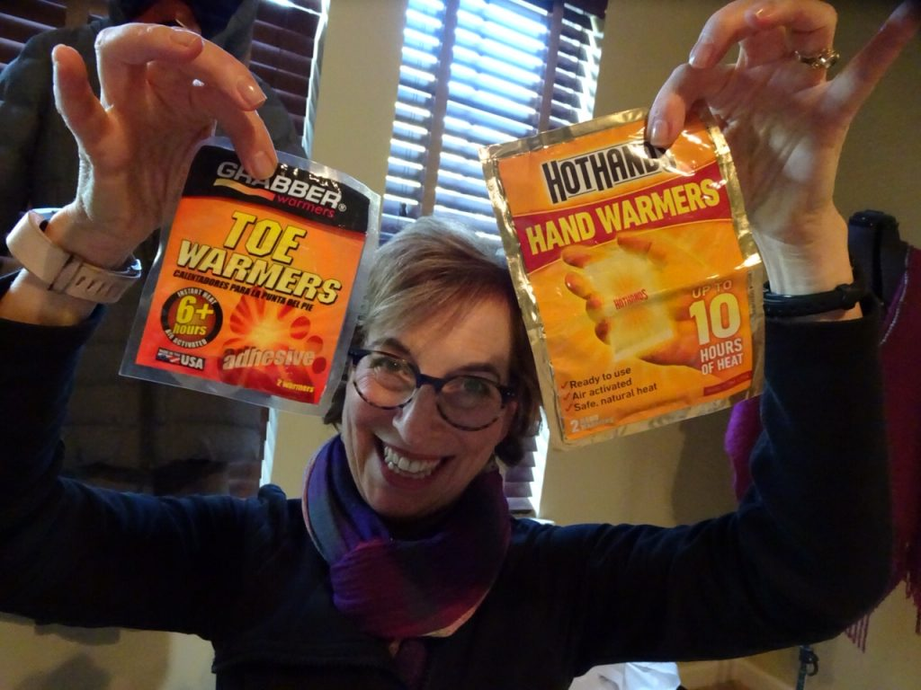 hand warmers and toe warmers; packing for a Northern Lights Tour of Finland
