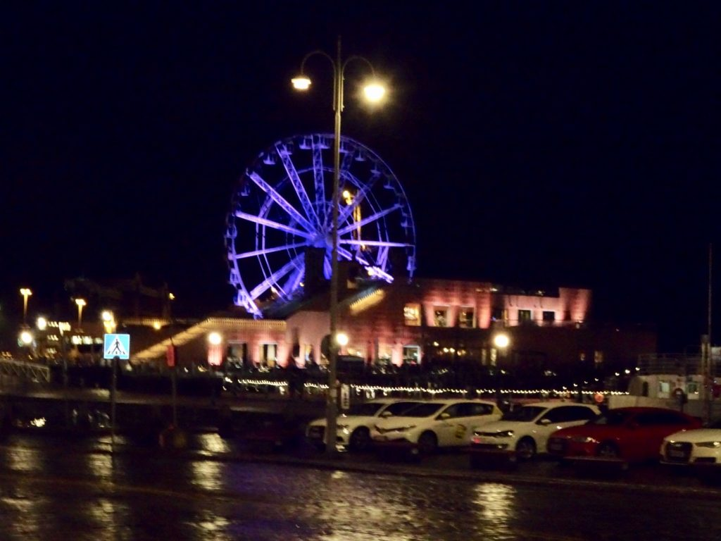 tour of Helsinki; Helsinki harbor at night