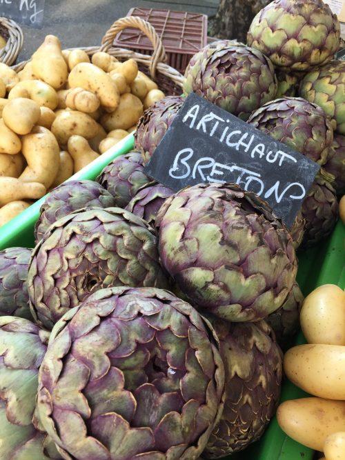 Fresh artichokes at a market in Lyon