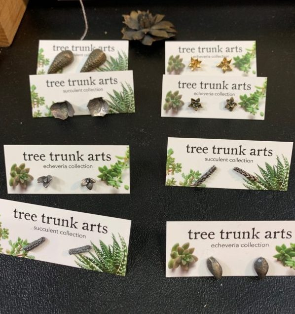 tree trunk arts earrings