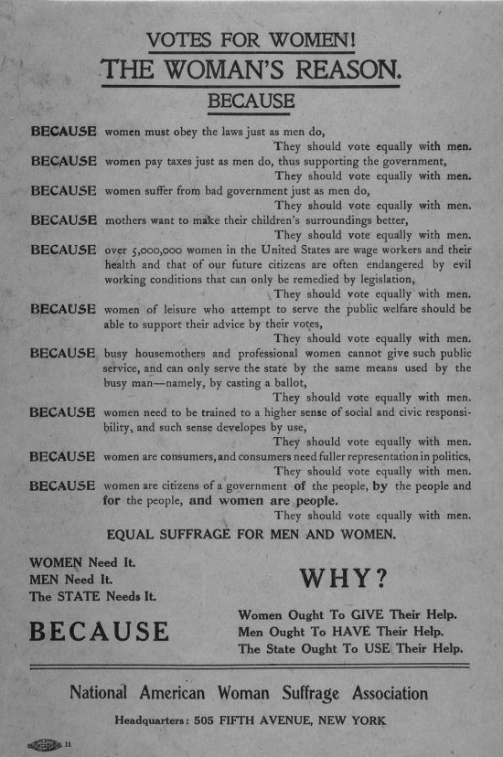 Women's Suffrage poster of NY