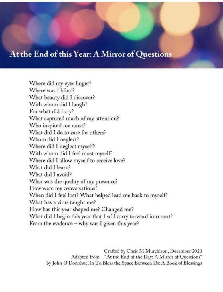 At the End of this Year: A Mirror List of Questions