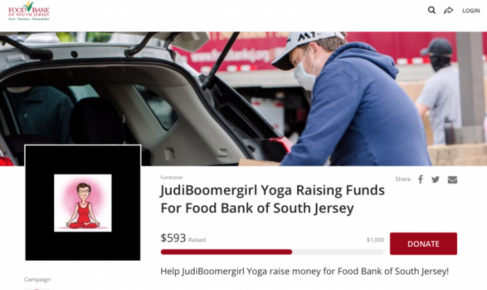JudiBoomergirl Yoga Fundraiser for Food Bank of South Jersey